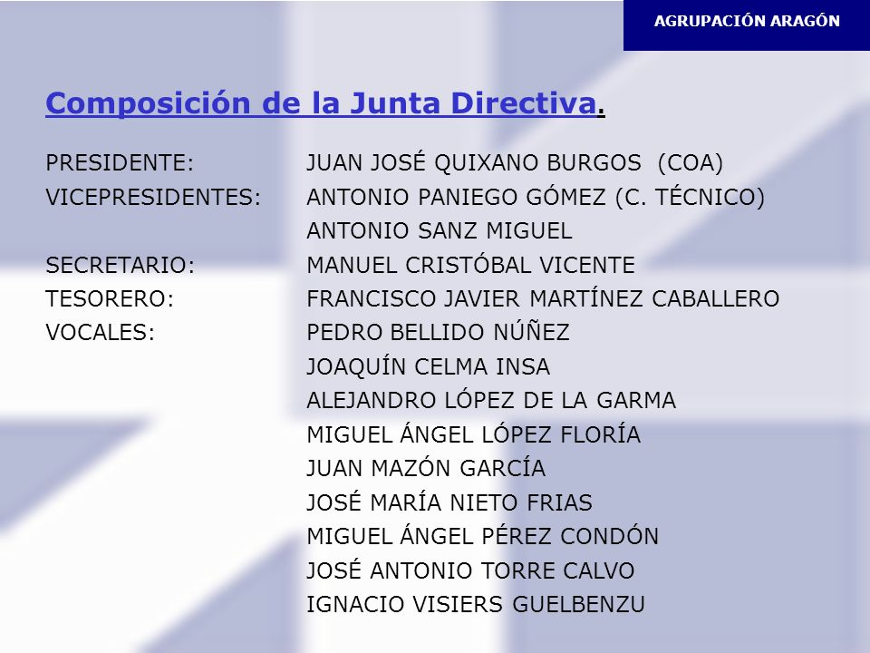 AGRUPACIÓN ARAGÓN Composición de la Junta Directiva. PRESIDENTE:JUAN JOSÉ QUIXANO BURGOS (COA) VICEPRESIDENTES:ANTONIO PANIEGO GÓMEZ (C. TÉCNICO) ANTO