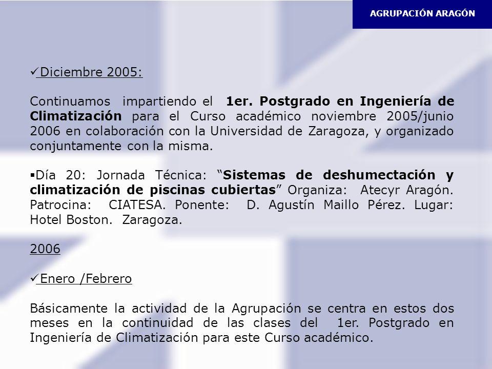 Diciembre 2005: Continuamos impartiendo el 1er. Postgrado en Ingeniería de Climatización para el Curso académico noviembre 2005/junio 2006 en colabora