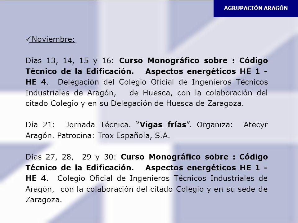 Noviembre: Días 13, 14, 15 y 16: Curso Monográfico sobre : Código Técnico de la Edificación. Aspectos energéticos HE 1 - HE 4. Delegación del Colegio