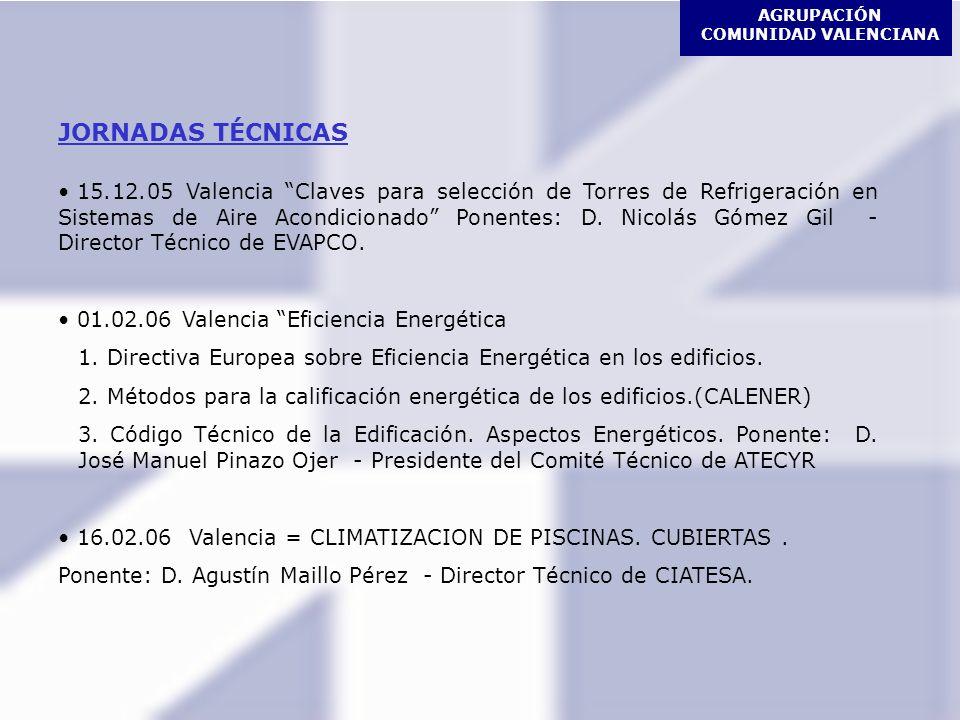 AGRUPACIÓN COMUNIDAD VALENCIANA JORNADAS TÉCNICAS 15.12.05 Valencia Claves para selección de Torres de Refrigeración en Sistemas de Aire Acondicionado