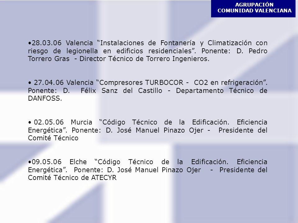 AGRUPACIÓN COMUNIDAD VALENCIANA 27.06.06 Valencia Nuevos desarrollos en la Tecnología del Enfriamiento evaporativo Ponentes: D.