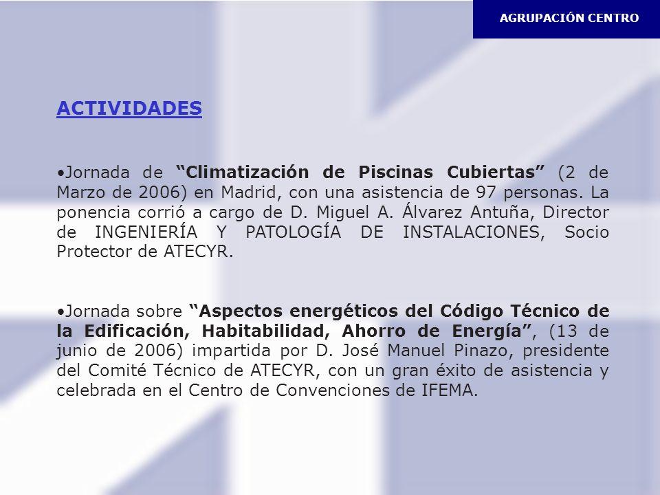 ACTIVIDADES Jornada de Climatización de Piscinas Cubiertas (2 de Marzo de 2006) en Madrid, con una asistencia de 97 personas. La ponencia corrió a car
