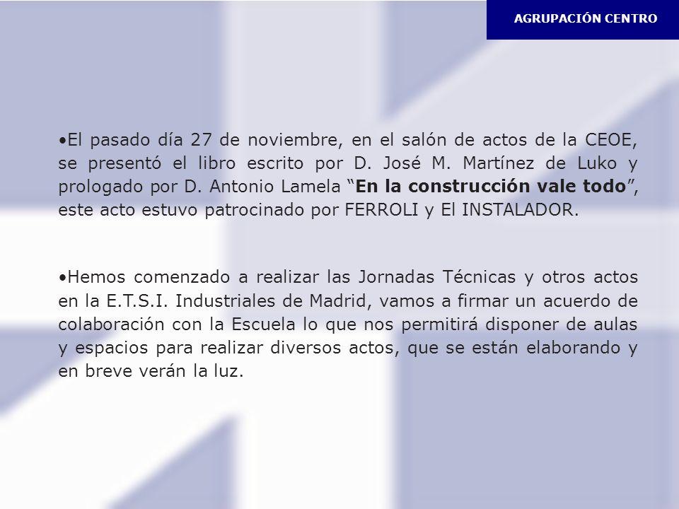 El pasado día 27 de noviembre, en el salón de actos de la CEOE, se presentó el libro escrito por D. José M. Martínez de Luko y prologado por D. Antoni