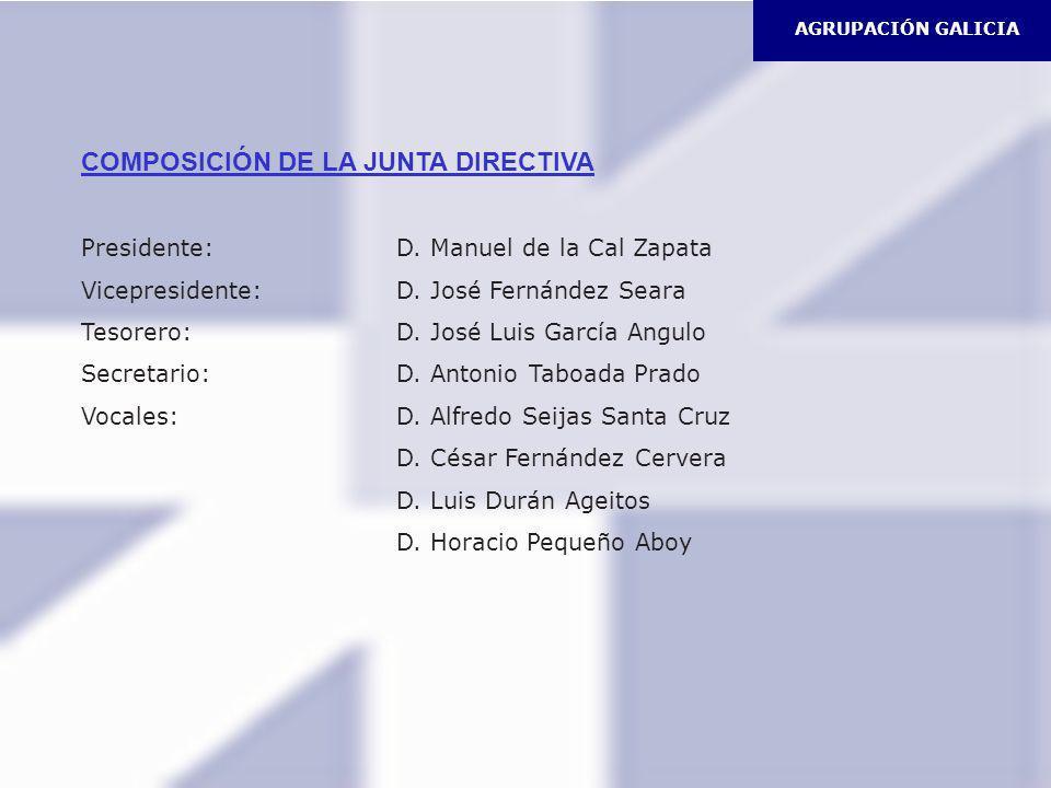 AGRUPACIÓN GALICIA COMPOSICIÓN DE LA JUNTA DIRECTIVA Presidente: D. Manuel de la Cal Zapata Vicepresidente: D. José Fernández Seara Tesorero: D. José