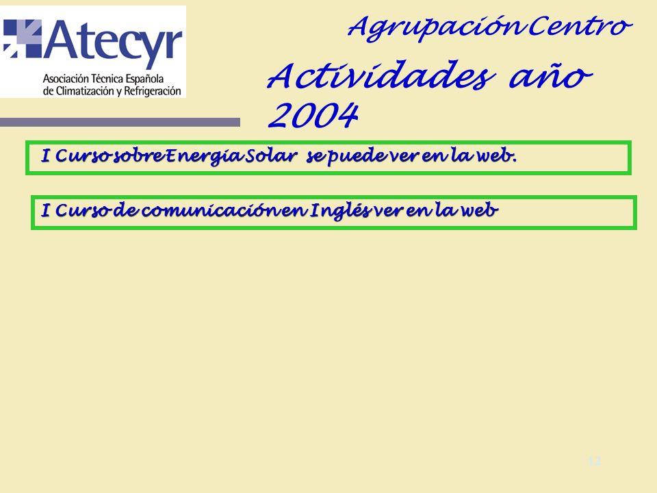 11 Evolución de actividades 2005 Agrupación Centro 12 de mayo 05 Jornada Técnica sobre Instalaciones Solares Térmicas para água caliente sanitaria.
