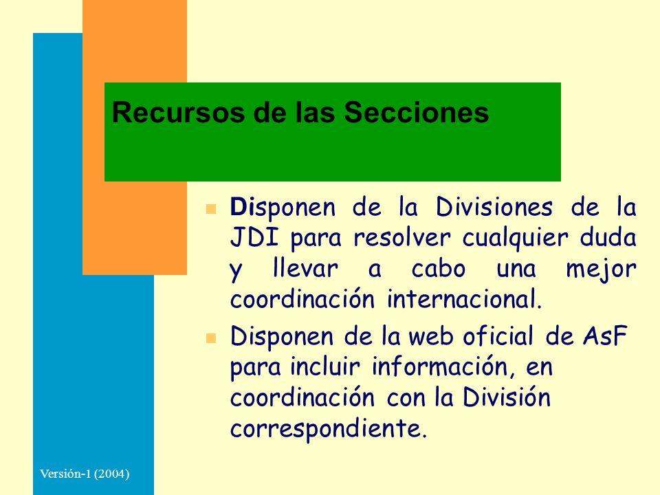 Versión-1 (2004) Recursos de las Secciones D isponen de la Divisiones de la JDI para resolver cualquier duda y llevar a cabo una mejor coordinación internacional.