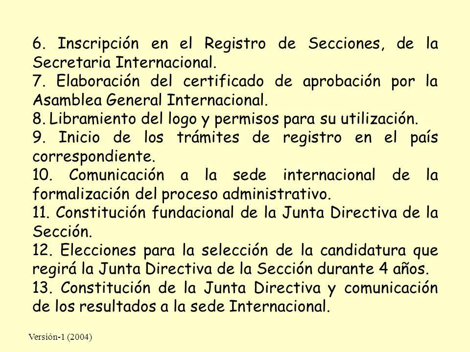 Versión-1 (2004) 6. Inscripción en el Registro de Secciones, de la Secretaria Internacional. 7. Elaboración del certificado de aprobación por la Asamb