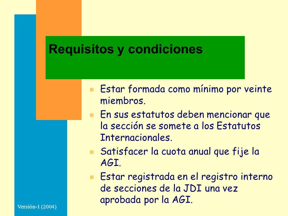 Versión-1 (2004) Requisitos y condiciones n Estar formada como mínimo por veinte miembros. n En sus estatutos deben mencionar que la sección se somete