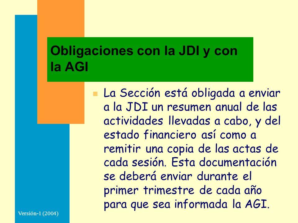Versión-1 (2004) Obligaciones con la JDI y con la AGI n La Sección está obligada a enviar a la JDI un resumen anual de las actividades llevadas a cabo, y del estado financiero así como a remitir una copia de las actas de cada sesión.