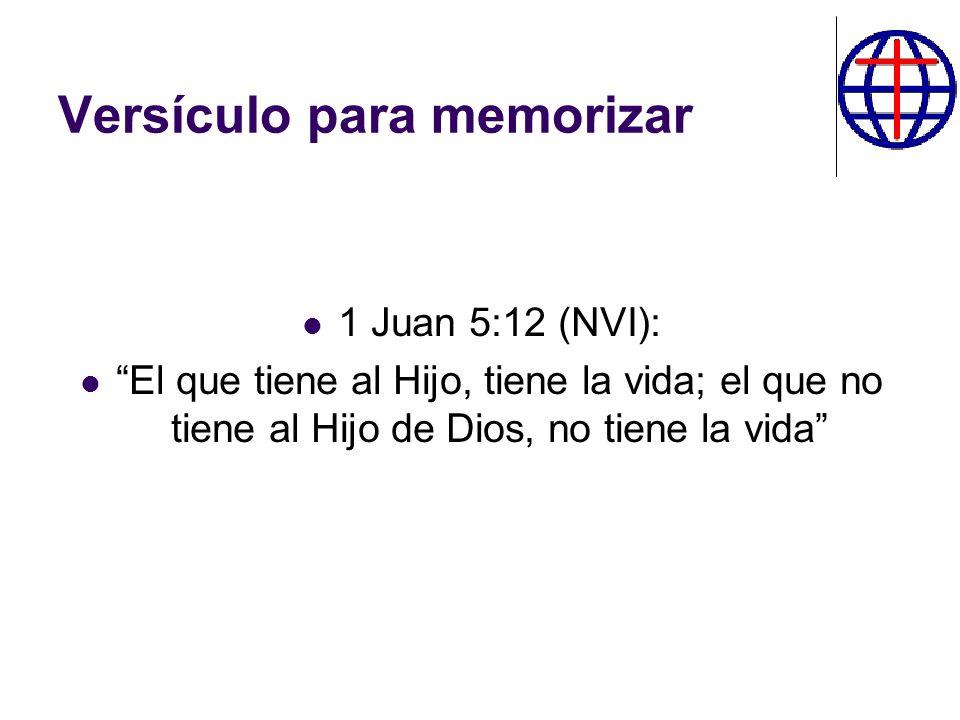 Versículo para memorizar 1 Juan 5:12 (NVI): El que tiene al Hijo, tiene la vida; el que no tiene al Hijo de Dios, no tiene la vida
