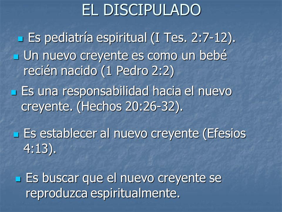 EL DISCIPULADO Es pediatría espiritual (I Tes. 2:7-12). Es pediatría espiritual (I Tes. 2:7-12). Es una responsabilidad hacia el nuevo creyente. (Hech