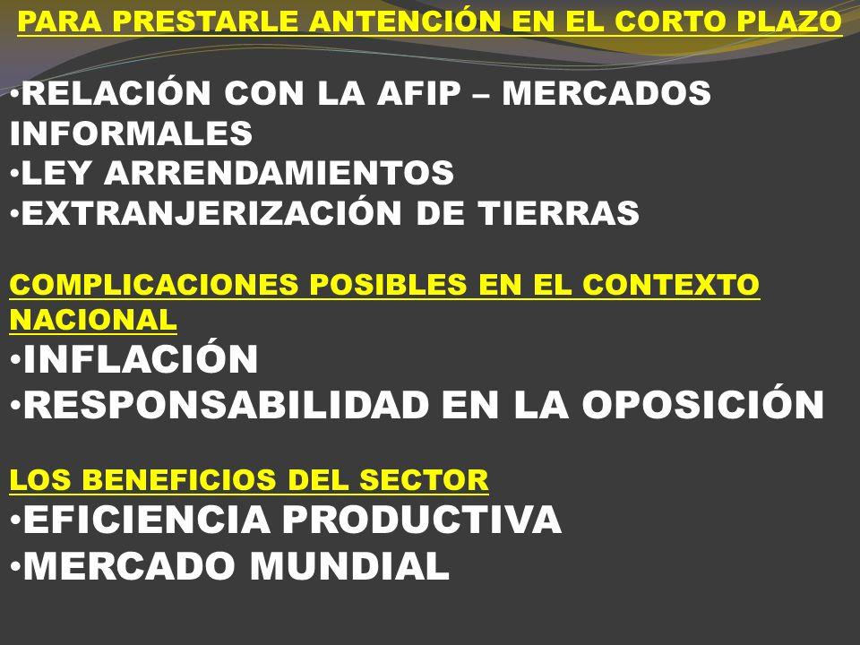 Oportunidades y desafíos para la Argentina Los nuevos clientes: participación de los PE proyectada para 2005 - 2020 en el aumento del consumo de los bienes seleccionados Carne vacuna: 98.3% Pollo: entre el 85.7% y el 87.9% Leche: 88.5% Trigo: 88.9 Maíz: 94.5% Soja: entre el 95.3% y el 97.4% Girasol: 71.0% Frutas de pepita: 98.8% Frutas cítricas: 84.2% Fuente.