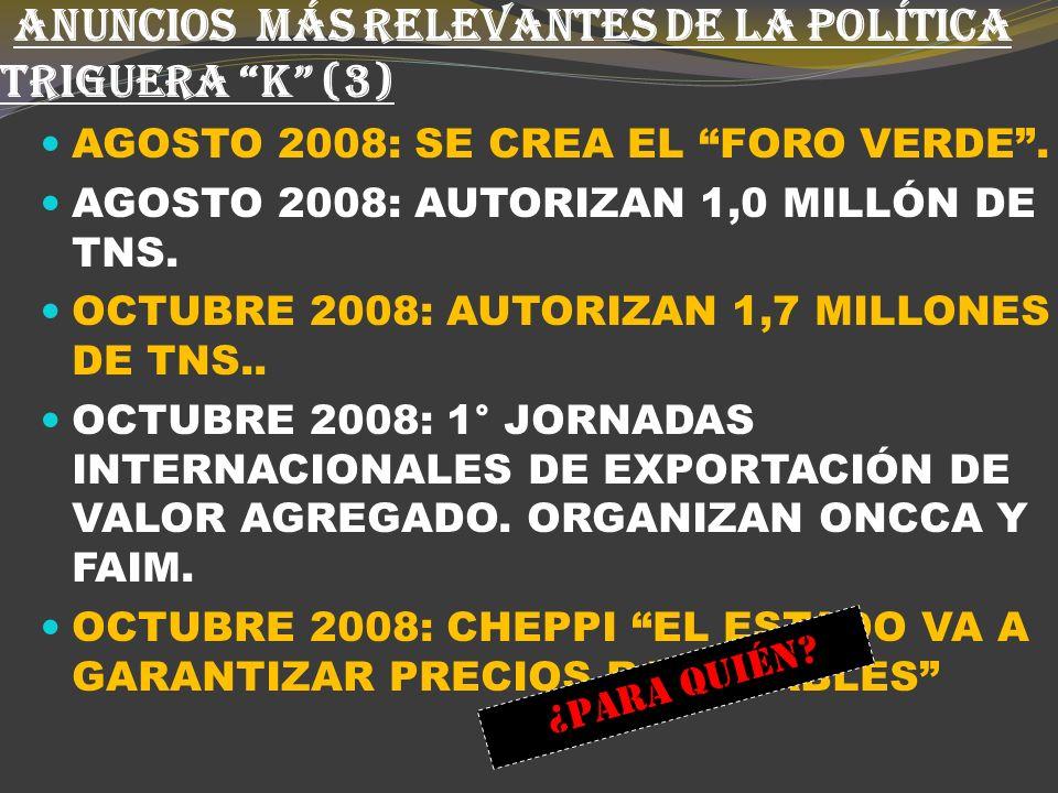 ANUNCIOS MÁS RELEVANTES DE LA POLÍTICA TRIGUERA K (2) MAYO DE 2008: ROE VERDE.