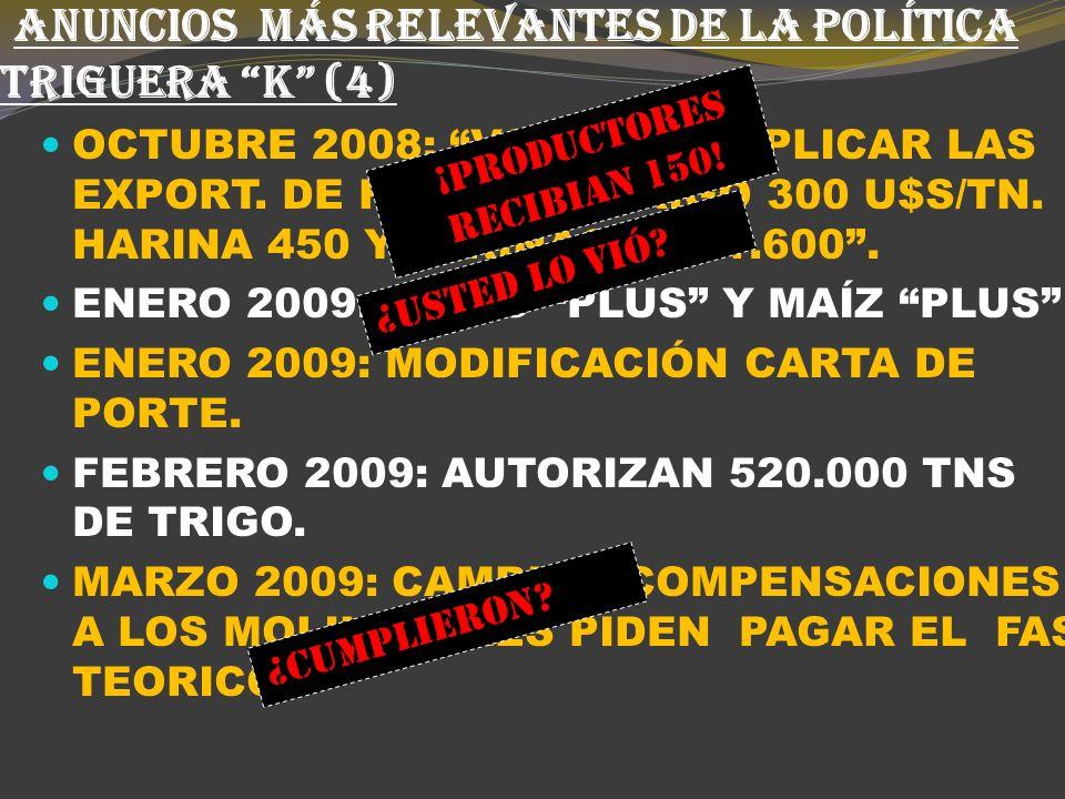 ANUNCIOS MÁS RELEVANTES DE LA POLÍTICA TRIGUERA K (3) AGOSTO 2008: SE CREA EL FORO VERDE.