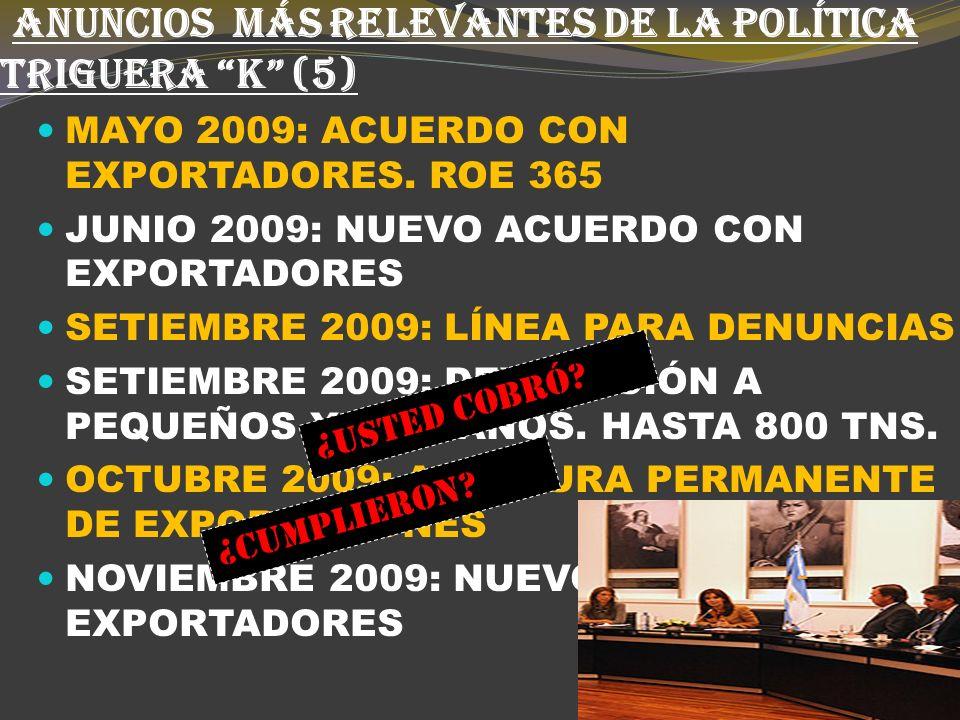ANUNCIOS MÁS RELEVANTES DE LA POLÍTICA TRIGUERA K (4) OCTUBRE 2008: VAMOS A DUPLICAR LAS EXPORT.