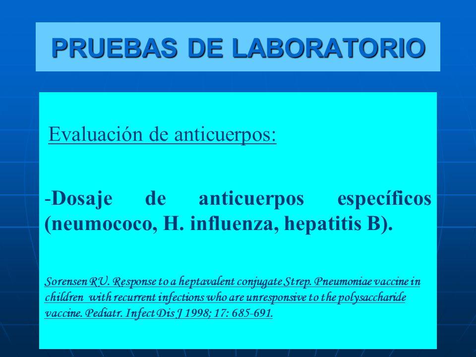 Evaluación de anticuerpos: -Dosaje de anticuerpos específicos (neumococo, H. influenza, hepatitis B). Sorensen RU. Response to a heptavalent conjugate