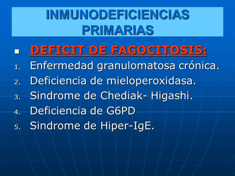 INMUNODEFICIENCIAS PRIMARIAS DEFICIT DE FAGOCITOSIS: DEFICIT DE FAGOCITOSIS: 1. Enfermedad granulomatosa crónica. 2. Deficiencia de mieloperoxidasa. 3