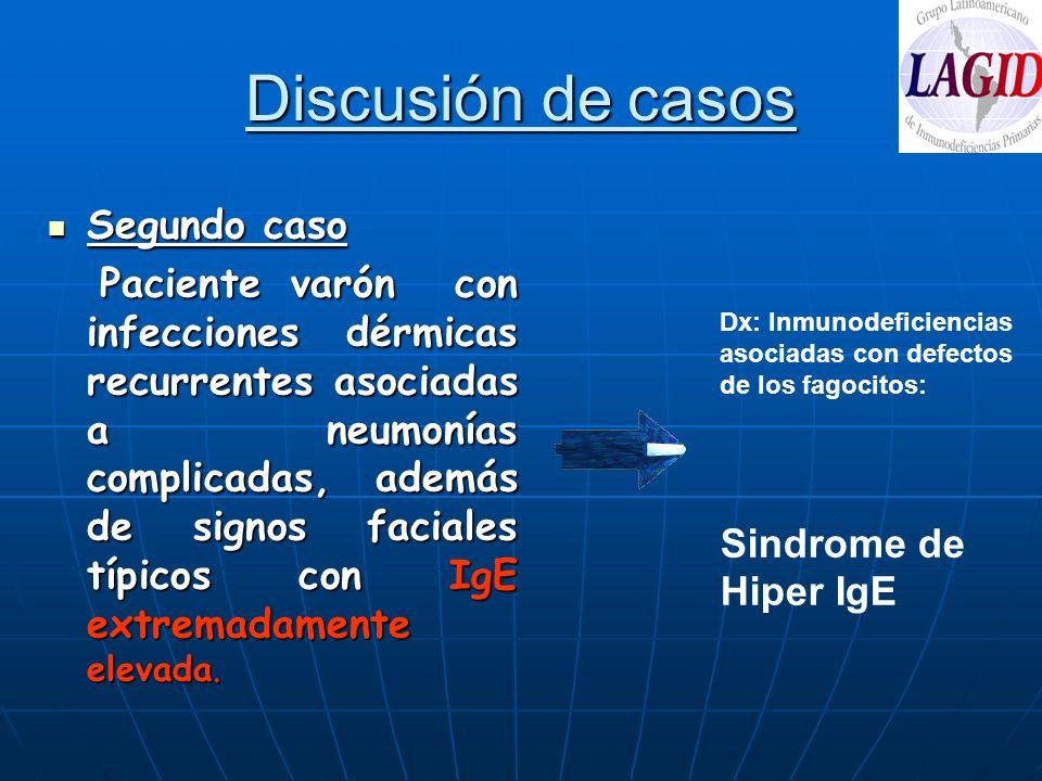 Discusión de casos Segundo caso Segundo caso Paciente varón con infecciones dérmicas recurrentes asociadas a neumonías complicadas, además de signos f