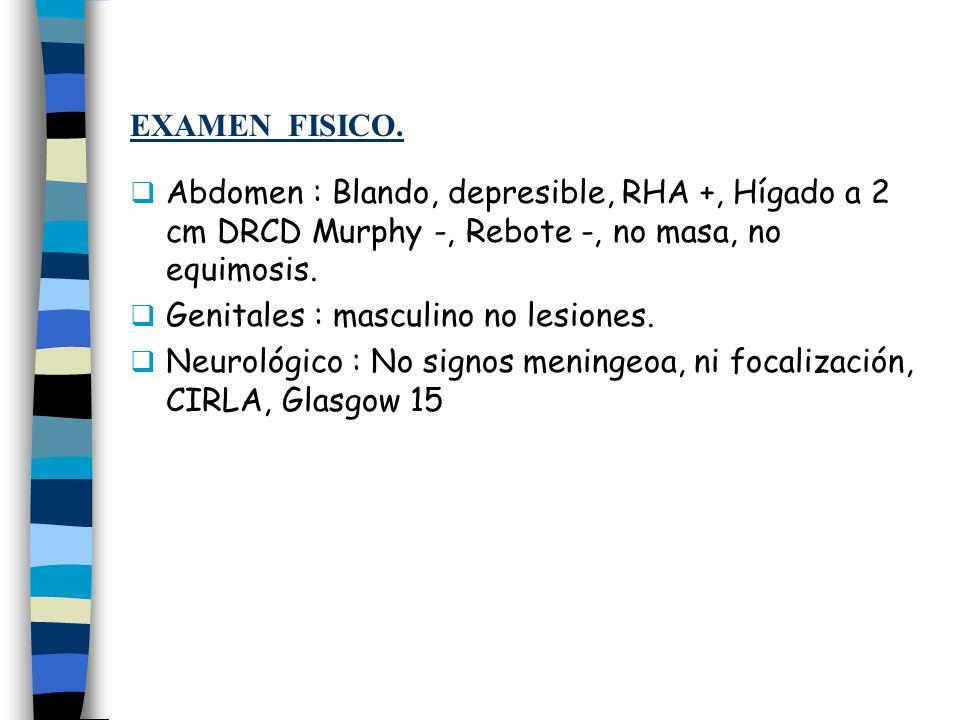 EXAMEN FISICO. Abdomen : Blando, depresible, RHA +, Hígado a 2 cm DRCD Murphy -, Rebote -, no masa, no equimosis. Genitales : masculino no lesiones. N