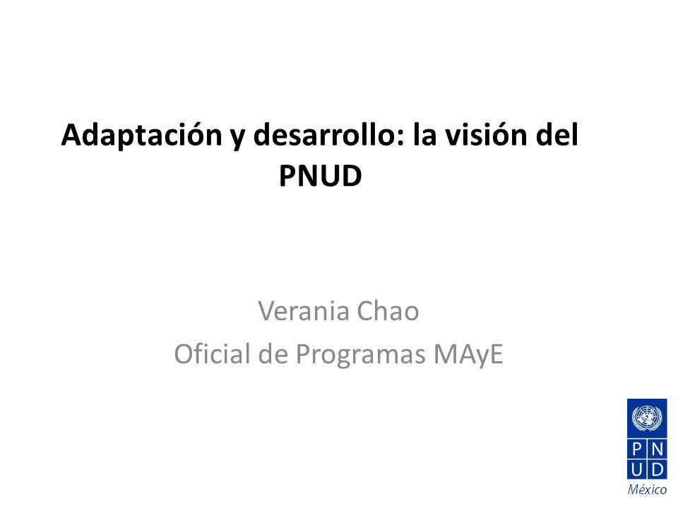 Adaptación y desarrollo: la visión del PNUD Verania Chao Oficial de Programas MAyE