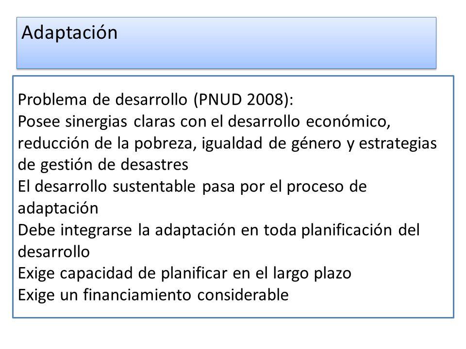 Problema de desarrollo (PNUD 2008): Posee sinergias claras con el desarrollo económico, reducción de la pobreza, igualdad de género y estrategias de g