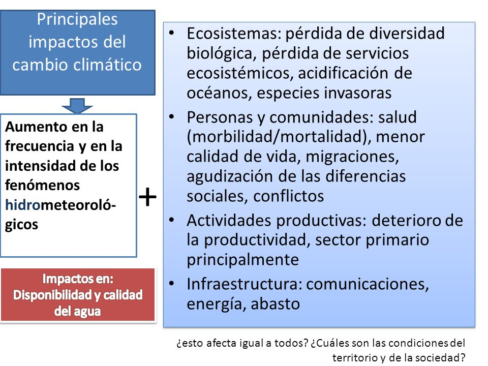 Principales impactos del cambio climático Ecosistemas: pérdida de diversidad biológica, pérdida de servicios ecosistémicos, acidificación de océanos,