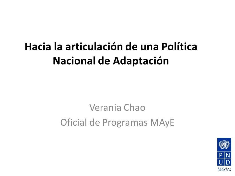 Hacia la articulación de una Política Nacional de Adaptación Verania Chao Oficial de Programas MAyE