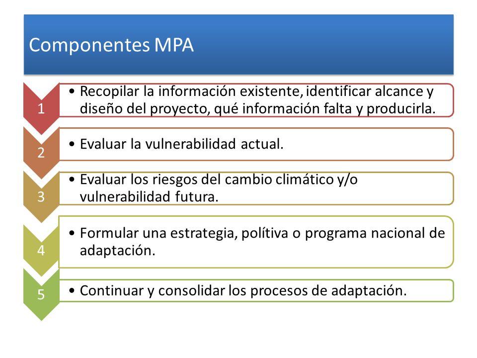 Componentes MPA 1 Recopilar la información existente, identificar alcance y diseño del proyecto, qué información falta y producirla. 2 Evaluar la vuln