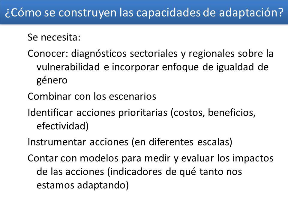 ¿Cómo se construyen las capacidades de adaptación? Se necesita: Conocer: diagnósticos sectoriales y regionales sobre la vulnerabilidad e incorporar en