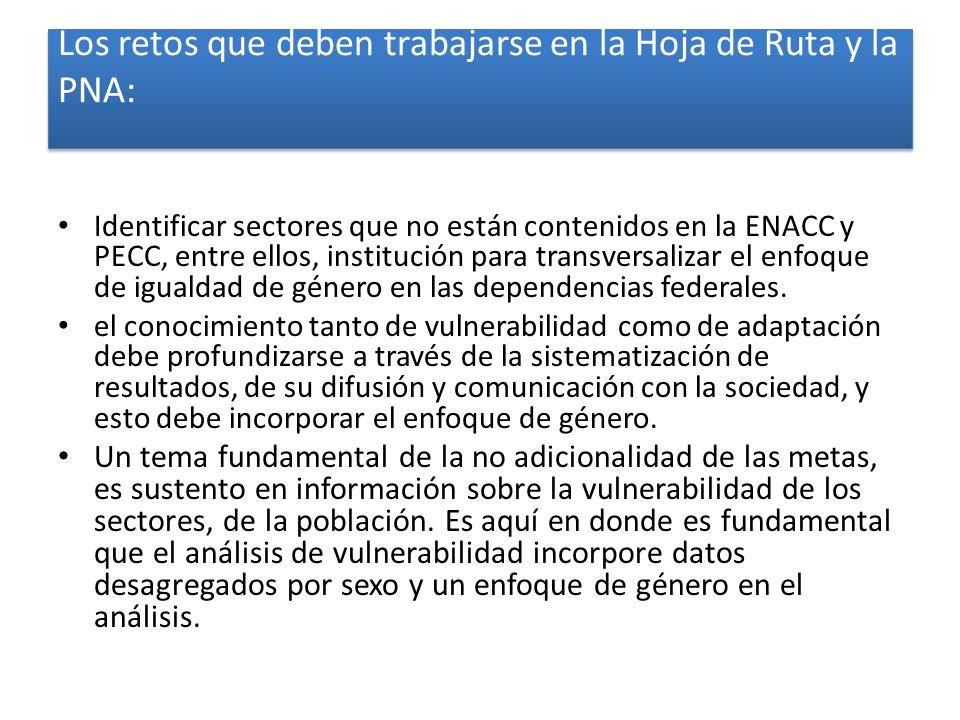 Los retos que deben trabajarse en la Hoja de Ruta y la PNA: Identificar sectores que no están contenidos en la ENACC y PECC, entre ellos, institución