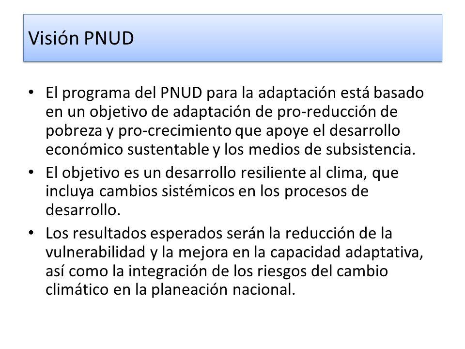 Visión PNUD El programa del PNUD para la adaptación está basado en un objetivo de adaptación de pro-reducción de pobreza y pro-crecimiento que apoye e