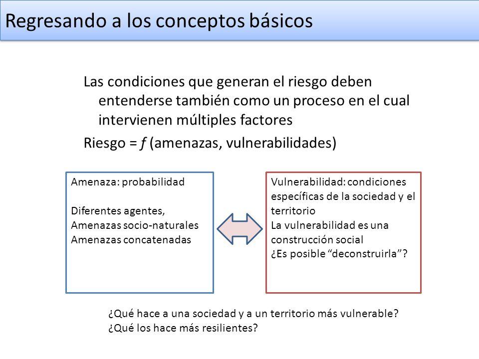 Regresando a los conceptos básicos Las condiciones que generan el riesgo deben entenderse también como un proceso en el cual intervienen múltiples fac