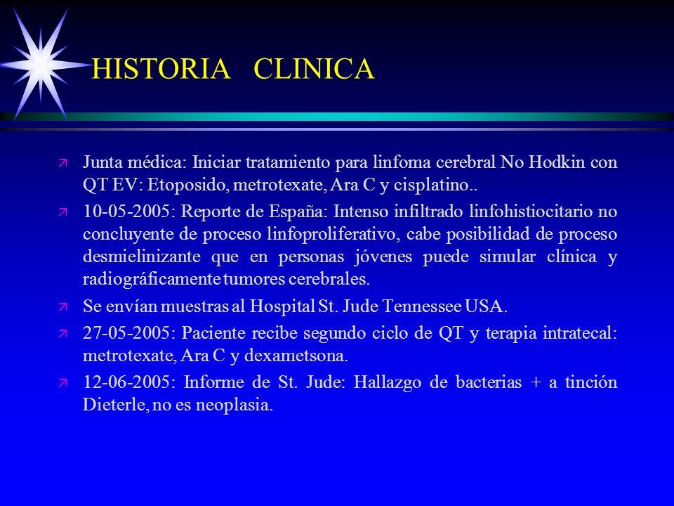 HISTORIA CLINICA ä ä Junta médica: Iniciar tratamiento para linfoma cerebral No Hodkin con QT EV: Etoposido, metrotexate, Ara C y cisplatino.. ä ä 10-