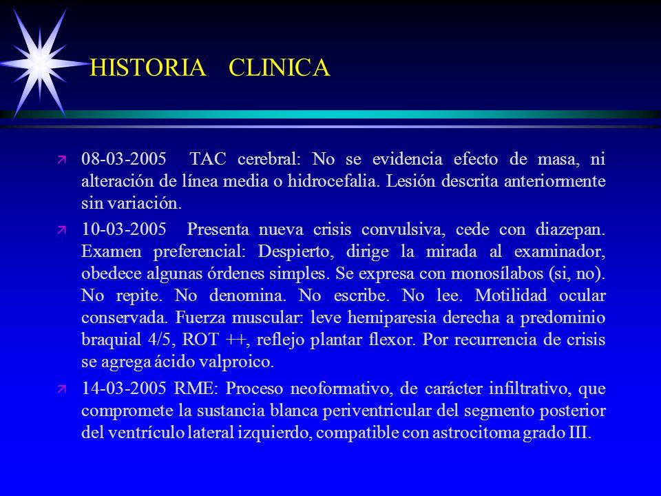 HISTORIA CLINICA ä ä 08-03-2005 TAC cerebral: No se evidencia efecto de masa, ni alteración de línea media o hidrocefalia. Lesión descrita anteriormen