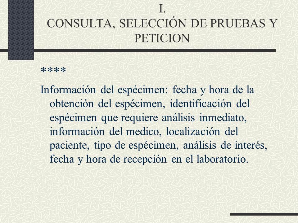 I. CONSULTA, SELECCIÓN DE PRUEBAS Y PETICION **** Información del espécimen: fecha y hora de la obtención del espécimen, identificación del espécimen