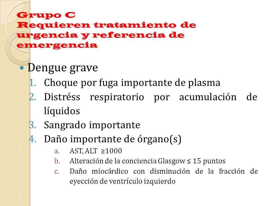 Grupo C Requieren tratamiento de urgencia y referencia de emergencia Dengue grave 1.Choque por fuga importante de plasma 2.Distréss respiratorio por a