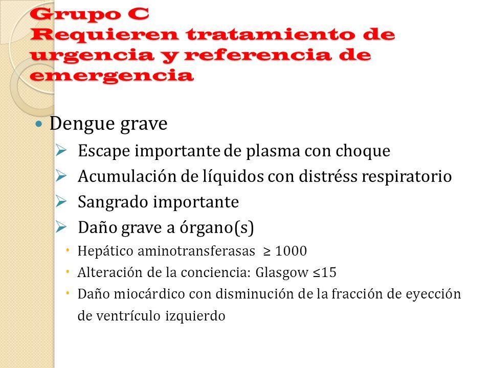 Grupo C Requieren tratamiento de urgencia y referencia de emergencia Dengue grave Escape importante de plasma con choque Acumulación de líquidos con d