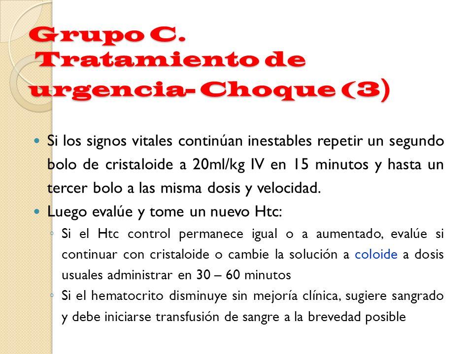 Grupo C. Tratamiento de urgencia- Choque (3 ) Si los signos vitales continúan inestables repetir un segundo bolo de cristaloide a 20ml/kg IV en 15 min