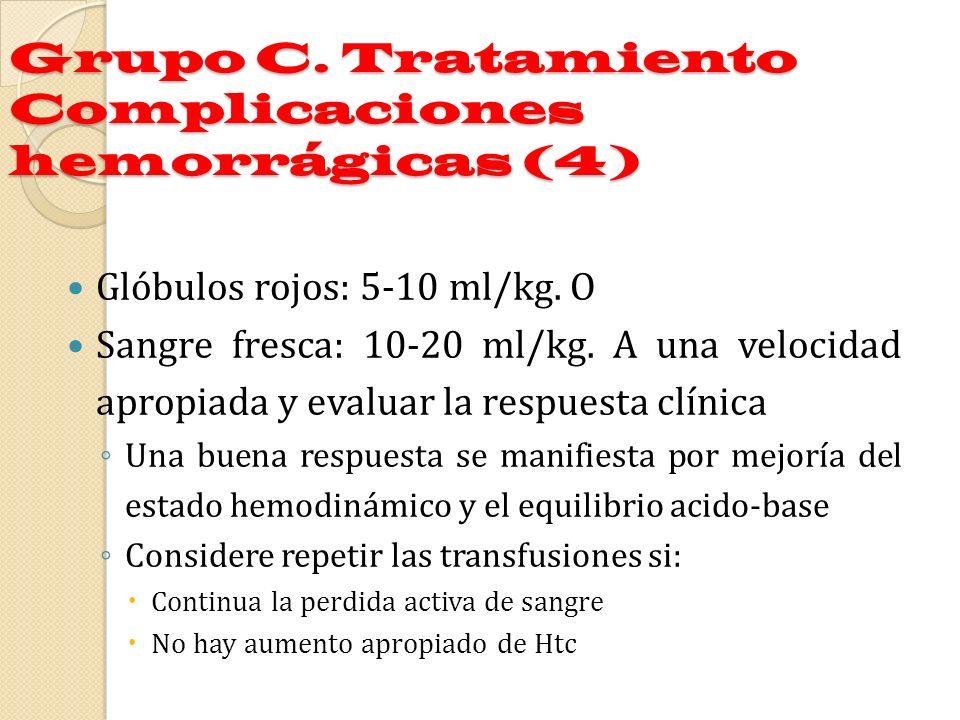Grupo C. Tratamiento Complicaciones hemorrágicas (4) Glóbulos rojos: 5-10 ml/kg. O Sangre fresca: 10-20 ml/kg. A una velocidad apropiada y evaluar la