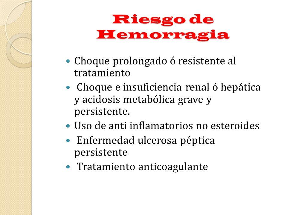 Riesgo de Hemorragia Choque prolongado ó resistente al tratamiento Choque e insuficiencia renal ó hepática y acidosis metabólica grave y persistente.