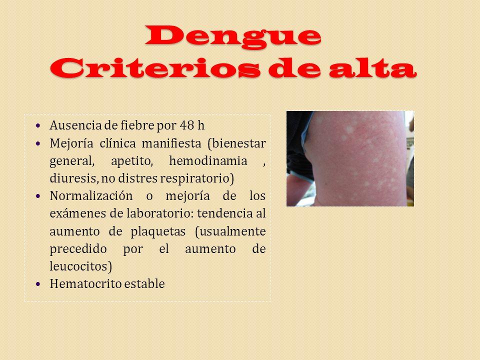 Dengue Criterios de alta Ausencia de fiebre por 48 h Mejoría clínica manifiesta (bienestar general, apetito, hemodinamia, diuresis, no distres respira