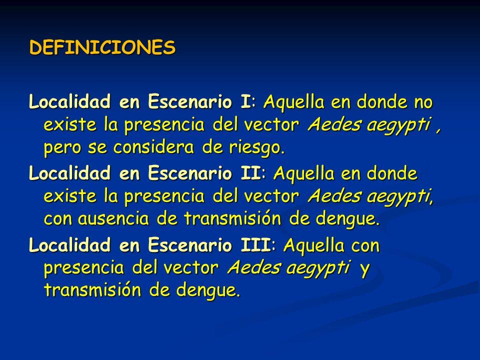 DEFINICIONES Localidad en Escenario I: Aquella en donde no existe la presencia del vector Aedes aegypti, pero se considera de riesgo. Localidad en Esc