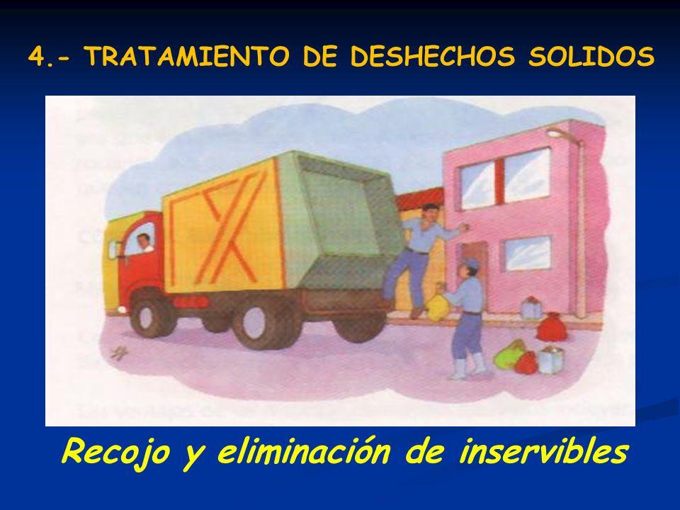 Recojo y eliminación de inservibles 4.- TRATAMIENTO DE DESHECHOS SOLIDOS