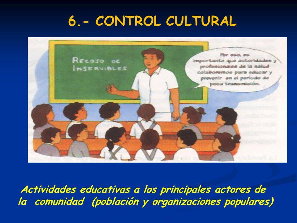 Actividades educativas a los principales actores de la comunidad (población y organizaciones populares) 6.- CONTROL CULTURAL