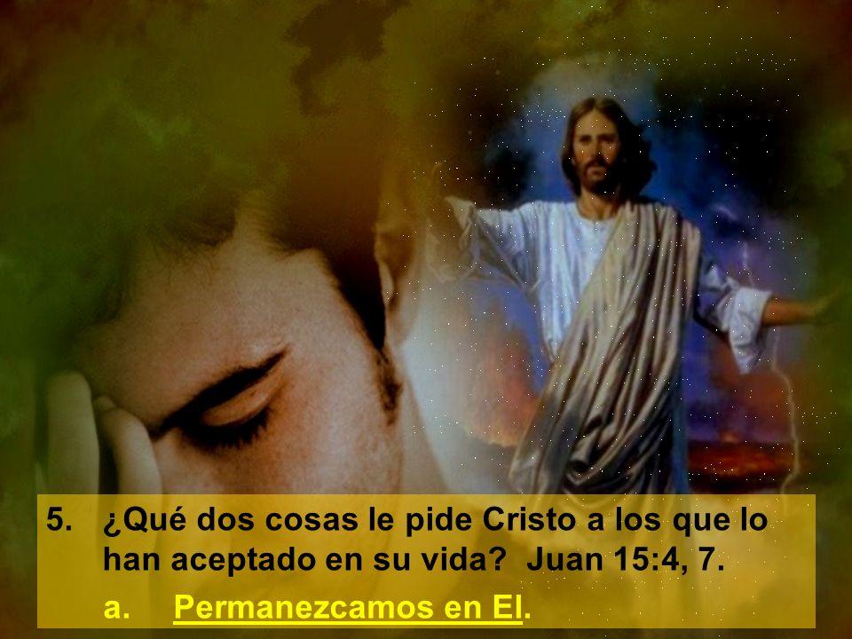 5.¿Qué dos cosas le pide Cristo a los que lo han aceptado en su vida? Juan 15:4, 7. a.Permanezcamos en El.