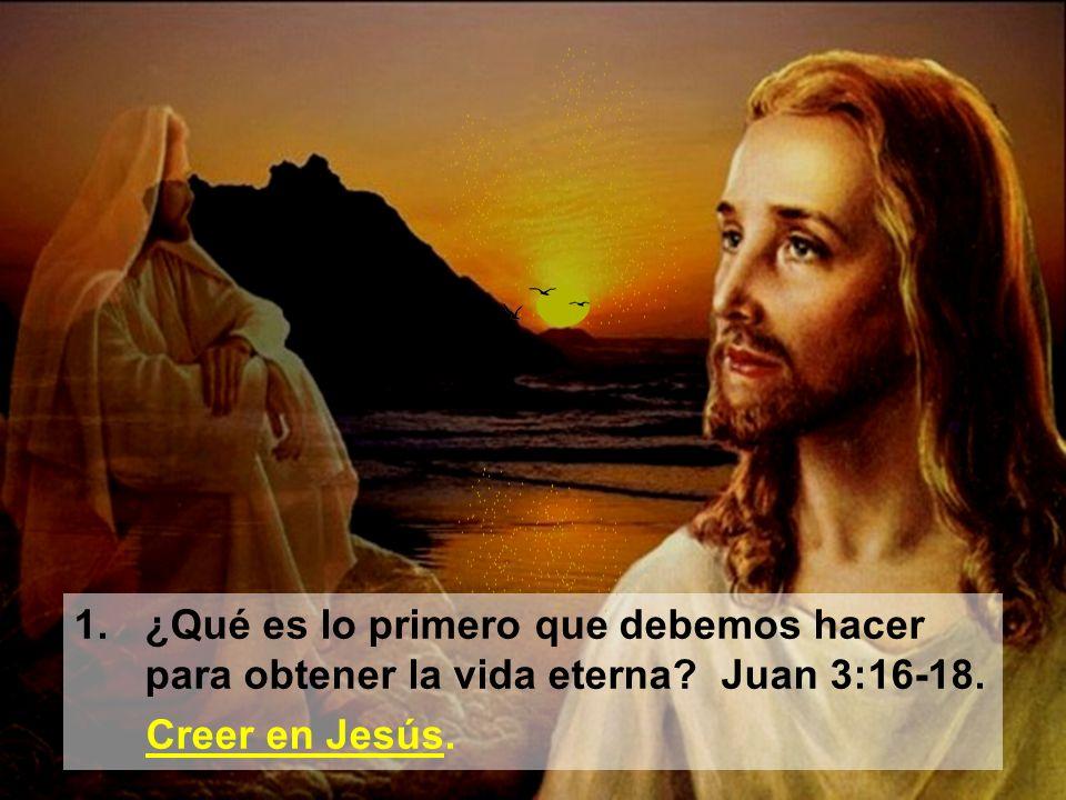 1.¿Qué es lo primero que debemos hacer para obtener la vida eterna? Juan 3:16-18. Creer en Jesús.