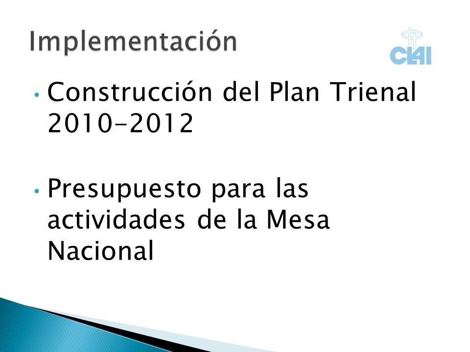 Construcción del Plan Trienal 2010-2012 Presupuesto para las actividades de la Mesa Nacional