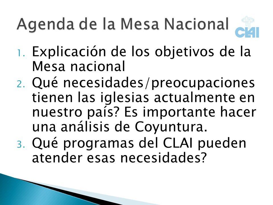 1. Explicación de los objetivos de la Mesa nacional 2.