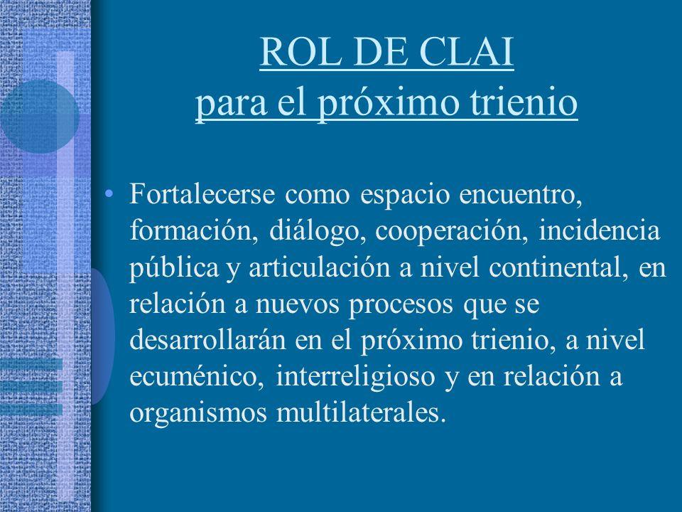 ROL DE CLAI para el próximo trienio Fortalecerse como espacio encuentro, formación, diálogo, cooperación, incidencia pública y articulación a nivel continental, en relación a nuevos procesos que se desarrollarán en el próximo trienio, a nivel ecuménico, interreligioso y en relación a organismos multilaterales.