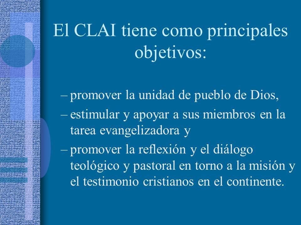 El CLAI tiene como principales objetivos: –promover la unidad de pueblo de Dios, –estimular y apoyar a sus miembros en la tarea evangelizadora y –promover la reflexión y el diálogo teológico y pastoral en torno a la misión y el testimonio cristianos en el continente.